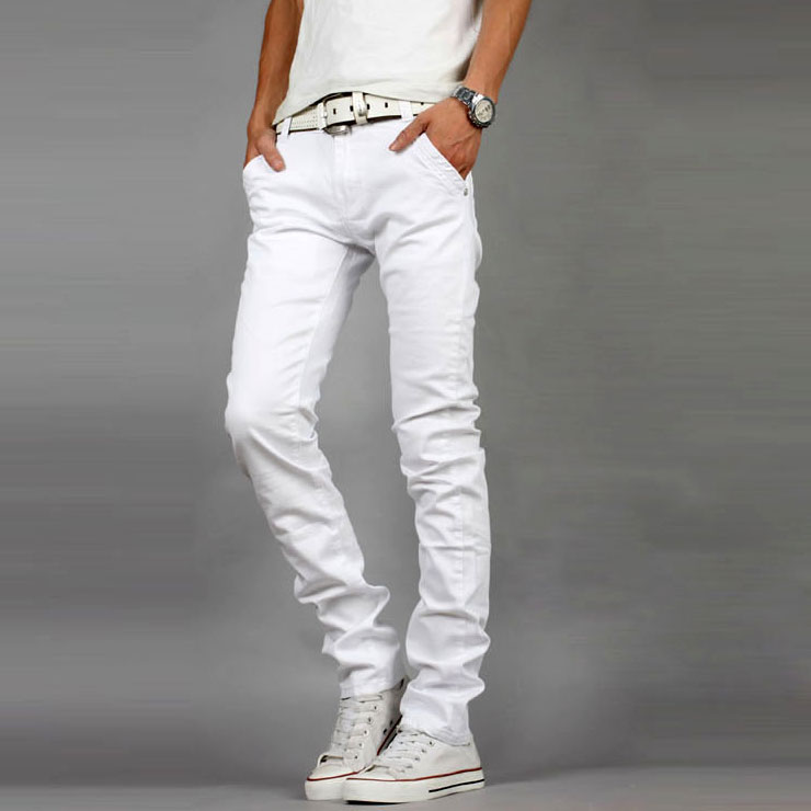 mens white stretch skinny jeans - Jean Yu Beauty