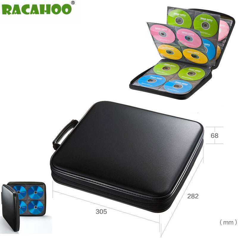 RACAHOO CD Case Blu-ray Disc Box High-quality CD / DVD Storage Package 160 Discs Capacity For Car Travel CD Storage Equipment