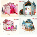 Brand New 3D Puzzle Model Toys LED Light Villa House DIY Assembly Paper 3D Puzzle Model Toy For Gift