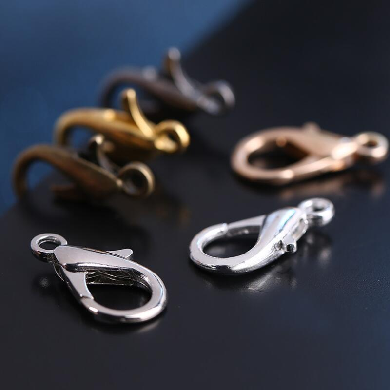 100pcs silver gold plated Metal Lobster Claw Clasps Hooks Jewelry Accessories Findings Fit Link Chain Necklace Bracelet Buckles in Buckles Hooks from Home Garden