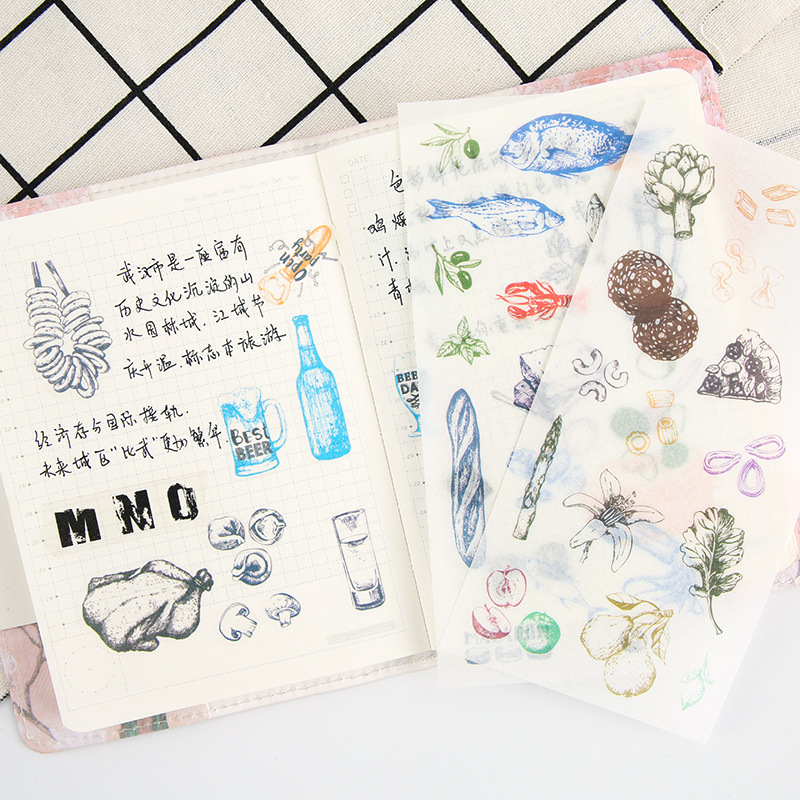 6pcs/pack food washi paper kawaii cute sticker stationary sticky school kids gift for planner scrapbooking diary decorative