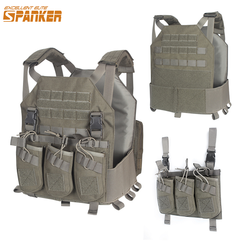 EXCELLENT ELITE Outdoor Hunting Vests Tactical Plate Vest+AK 47 Triple Ammo Clips Military Nylon Vest Tactical Military Vests