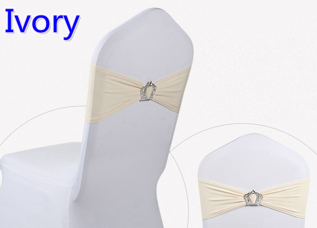 Ivory colour Crown buckles lycra sash for wedding chairs decoration spandex band stretch bow tie lycra ribbon belt on sale