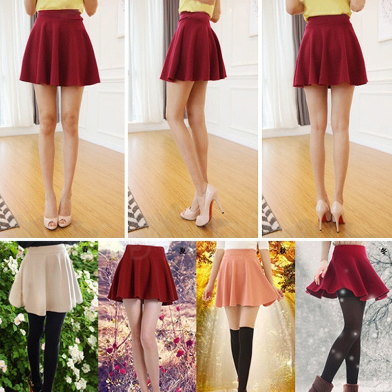 New Women Skirt Sexy Mini Short Skirt Fall Skirts Womens Stretch High Waist Pleated Tutu Skirt New