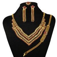 India donna collana in oro set di gioielli di alta qualità africano grandi insiemi dei monili set di gioielli multa