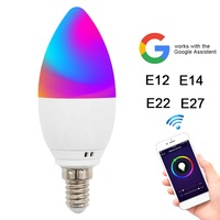 2 pcs Remote control WiFi LED Candle Bulbs Bedroom Home Light RGB 5W Led Smart Bulb For Alexa Google