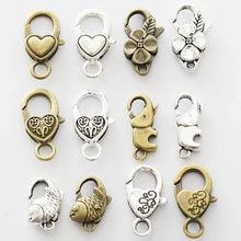 Pçs/lote ganchos de fecho de lagosta de prata, antiguidade, flor de prata para colar, pulseira, corrente, jóias, acessórios, achados & componentes