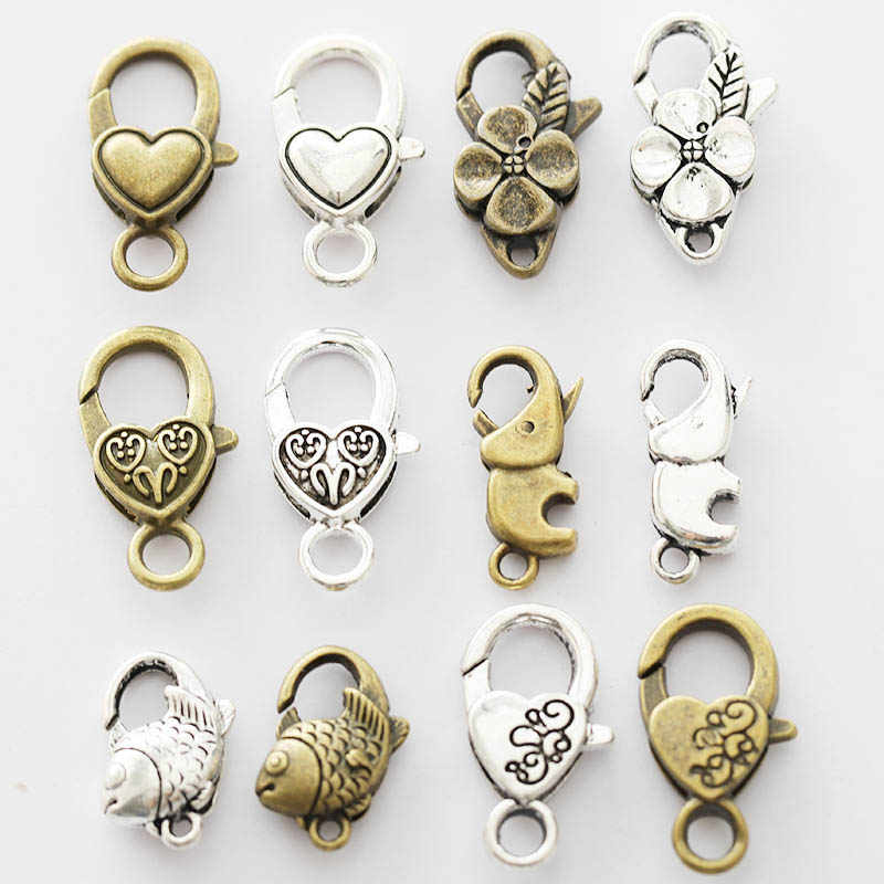 10pcs/lot Antique Silver Flower Lobster Clasp Hooks For Necklace Bracelet Chain DIY Jewelry Accessory Findings & Components