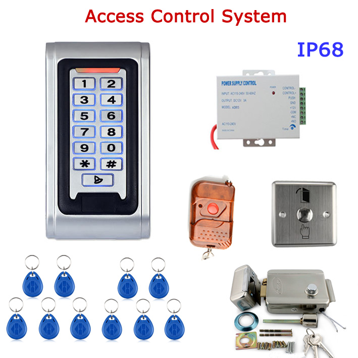 Door Access Control Controller Waterproof IP68 Metal Case RFID Reader Keypad Remote Control Electric Door Lock lpsecurity waterproof outdoor metal rfid keypad door lock standalone access control reader