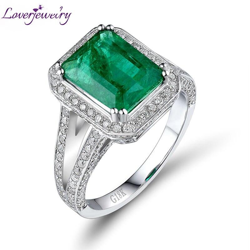 Loverbijoux solide 18Kt or blanc diamant naturel bague émeraude taille émeraude 8x10mm pour les femmes anneaux de mariage pierres précieuses bijoux fins