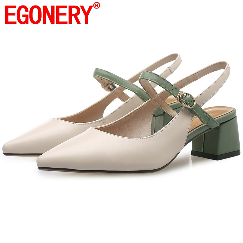 EGONERY women genuine leather sandals pointed toe good quality fashion summer shoes 2019 new style back
