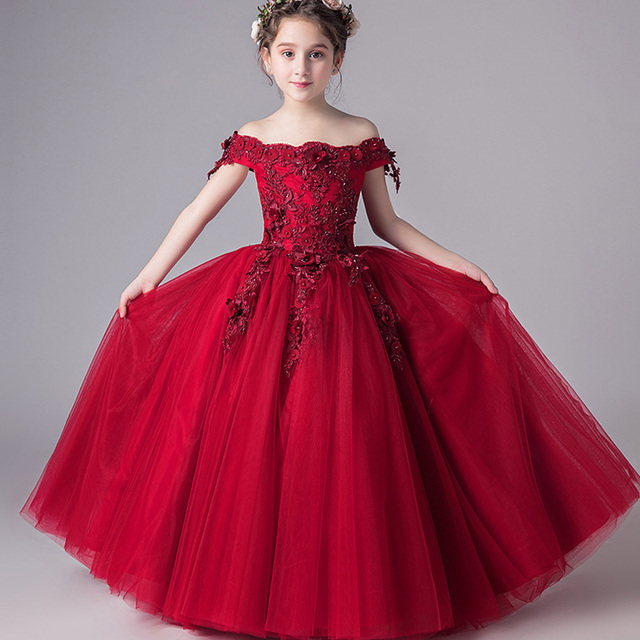 Romantic Flower Girl Wedding Bridesmaid Dress 2019 New Bead Decoration Long  Lace Dress Flower Girl Party 575337d251b8