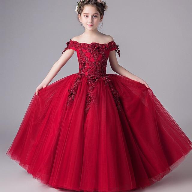 571e444ff9 Romantic Flower Girl Wedding Bridesmaid Dress 2019 New Bead Decoration Long  Lace Dress Flower Girl Party Dress