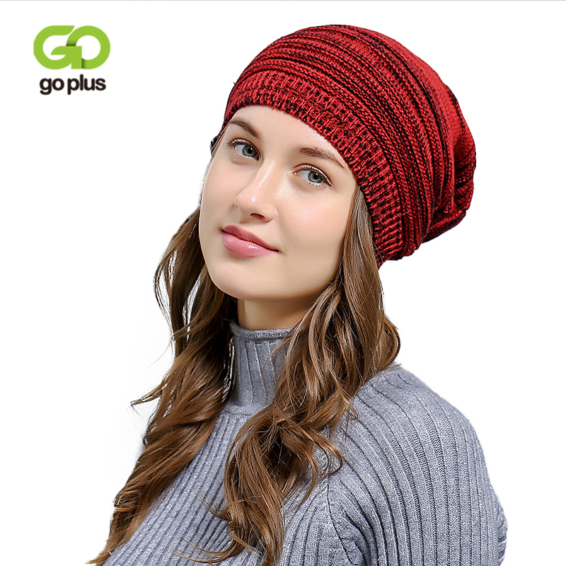 GOPLUS 2019 Spring Winter Knitted Hats Women New Fashion Splice Color Hat For Girl Hip Hop   Skullies     Beanies   Wool Warm Cap Female