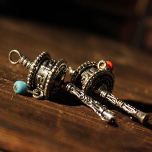 Tibetan Tibet Buddhist DIY Mini Gem OM Prayer Wheel Amulet Pendant 2PCS