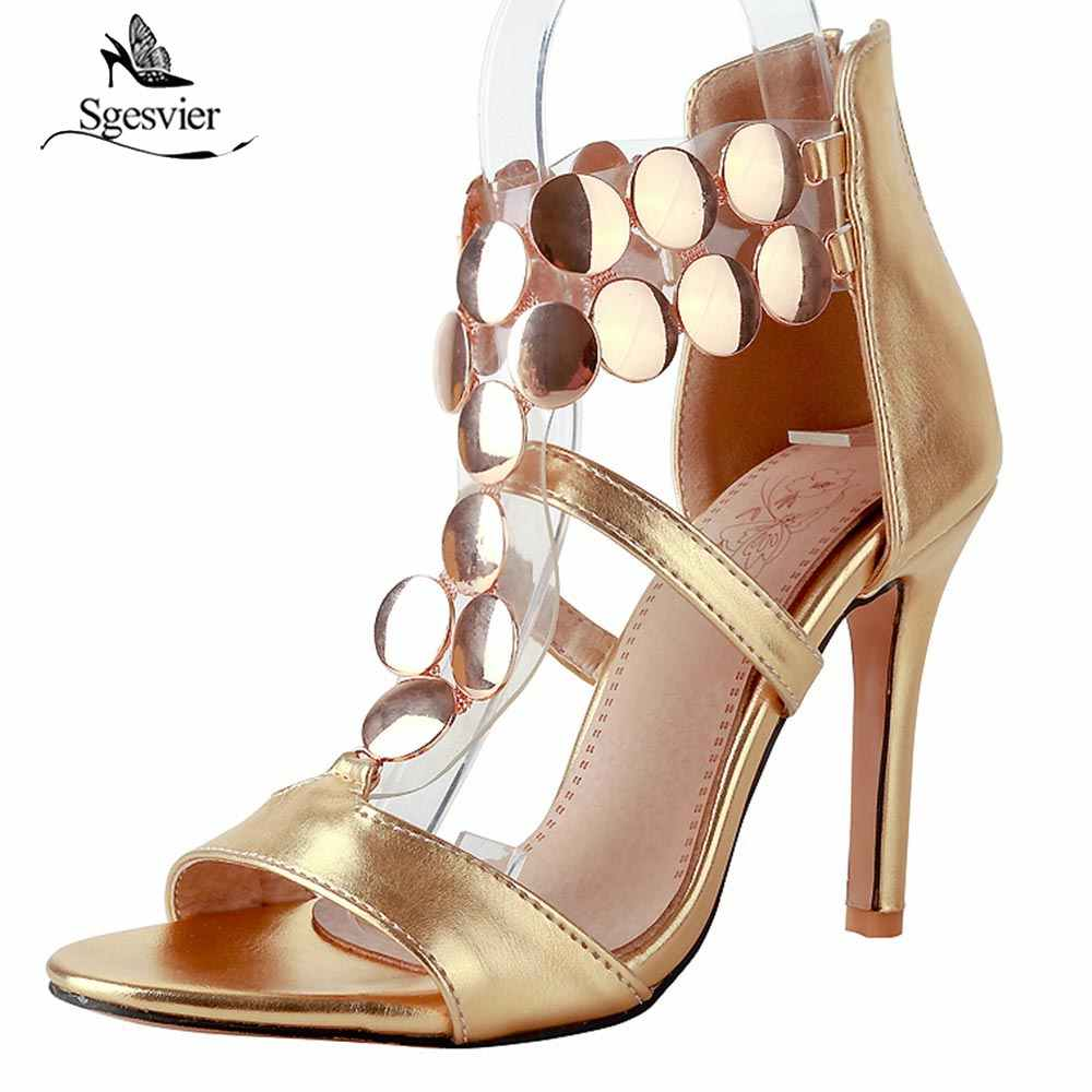 afbf3f153bd0 SGESVIER New Women Zipper Platform Sandals High Heel Stiletto T Strap Sandals  Open Peep Toe Summer