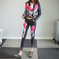 Nancylim Women Sequin Denim Clothes Sets Girl Lady Fashion Duck Sequins Denim Coat + Dark Skinny Jeans Trousers Two Piece Suits