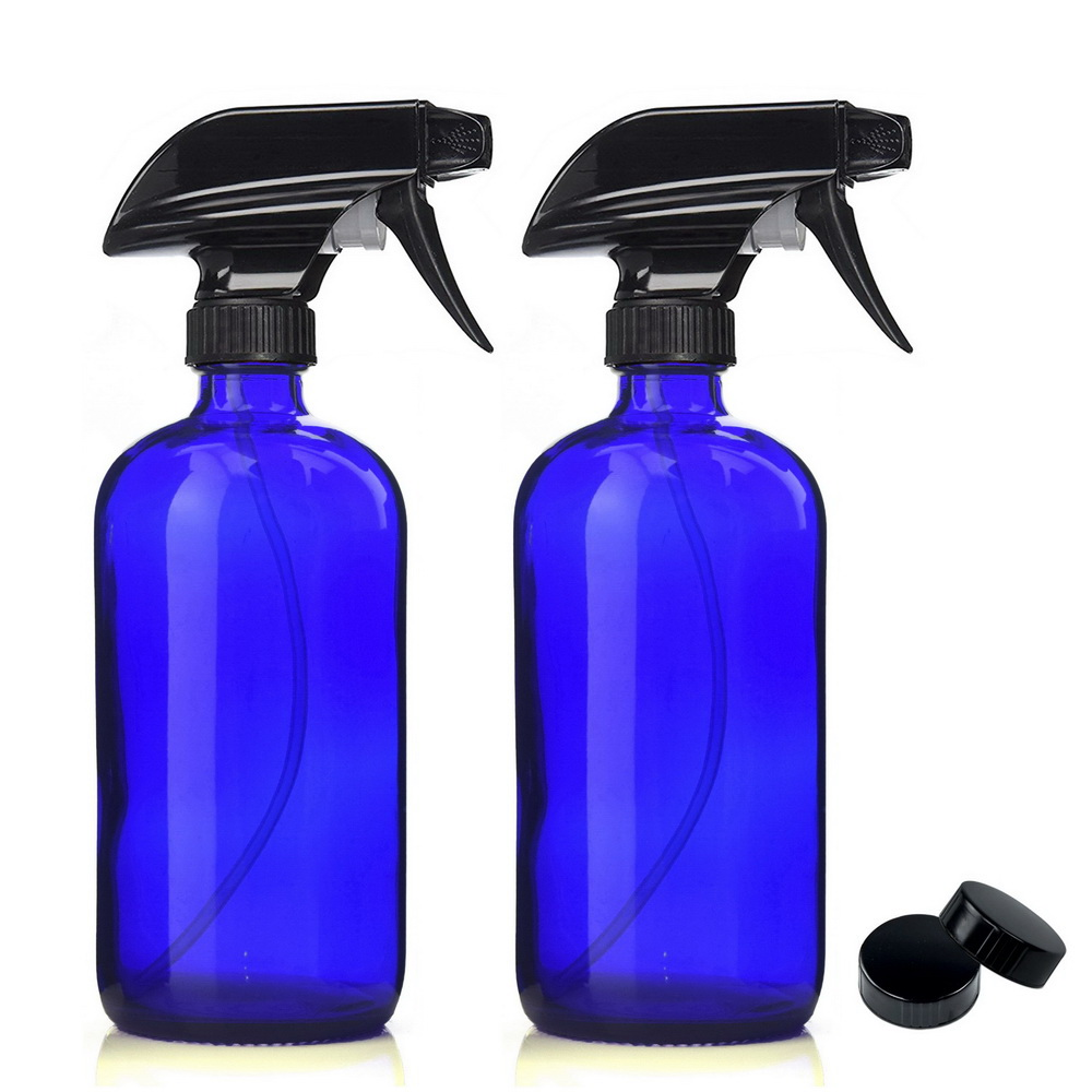 2 X 16 Oz Large 500ml Cobalt Blue Glass Spray Bottle w/ Black Trigger Sprayer for Perfume Essential Oils Aromatherapy Cleaners