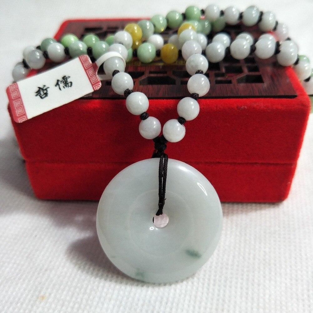 Zhe Ru bijoux pur naturel jadéite vert clair beignet pendentif tricolore Jade perle collier cadeau classe A certificat National