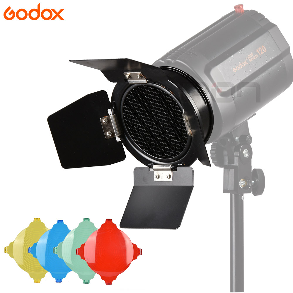 Godox BD-03 Barn Door+Honeycomb Grid + 4 Color Filter For Photography Video Studio Flash Accessories Universal Mount