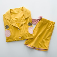 Ladies Summer Pajamas Sets Bow Cotton Candy Yellow Cute Pineapple Pyjamas Shorts Sweet Kawayi Sleepwears Pigiama