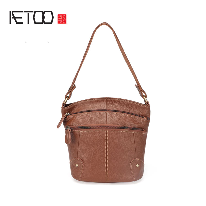 AETOO Leather handbags shoulder bag oblique bags Europe and the United States fashion women's first layer of leather bag europe and the united states classic sheepskin checkered chain tide package leather handbags fashion casual shoulder messenger b