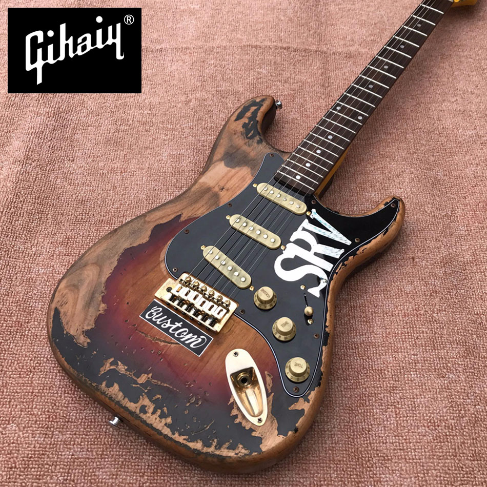 New style high quality relic remains ST electric guitar, handmade SRV aged relic electric guitar, Vintage Sunburst,free shipping 1961 rory gallagher tribute heavy relic 3 tone sunburst handmade relic alder body electric guitar ems free shipping