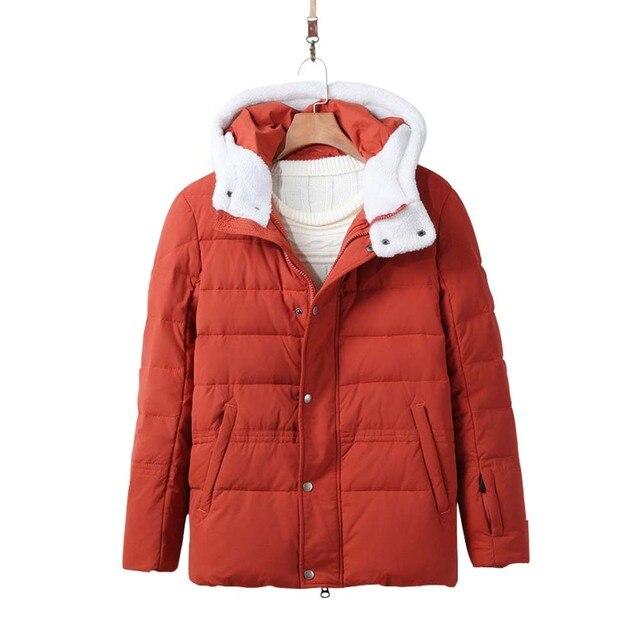 Nova Moda Inverno Dos Homens Para Baixo Jaqueta Coreano Magro Ocasional Para Baixo Desgaste CamoFleece Para Baixo Casaco Com Chapéu LB
