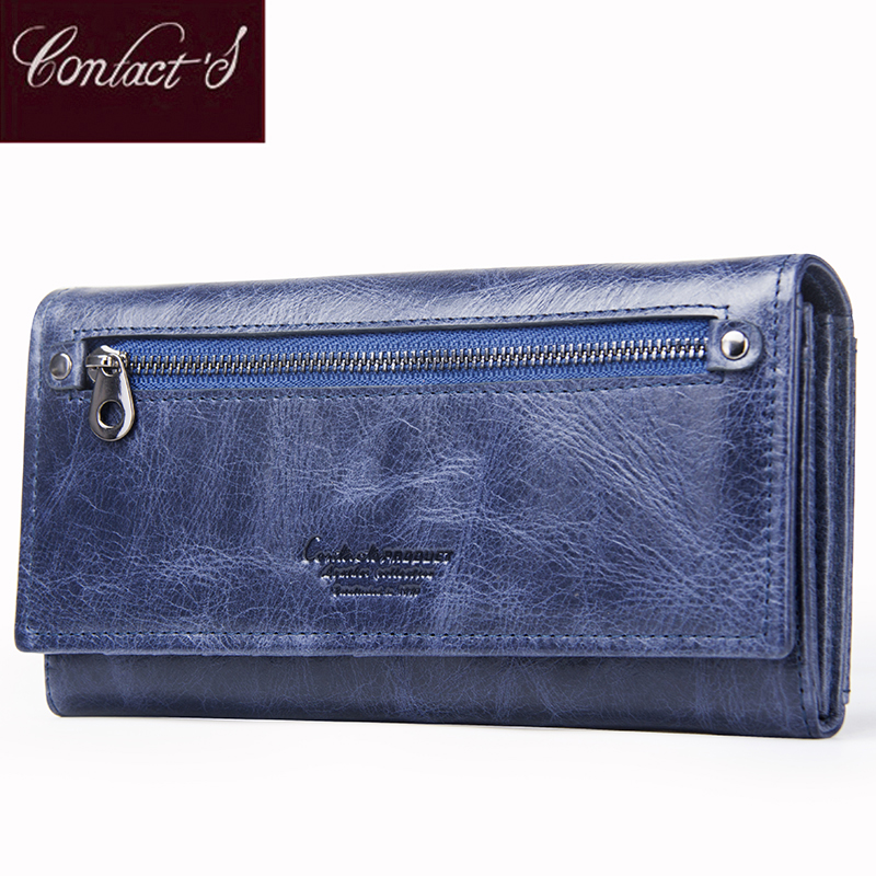Contact's Brand Design Coin Purse Genuine Leather Women Wallets Female Card Holder Long Lady Clutch Wallet With Phone Pockets high quality floral wallet women long design lady hasp clutch wallet genuine leather female card holder wallets coin purse