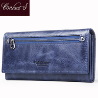 Contact S Brand Design Coin Purse Genuine Leather Women Wallets Female Card Holder Long Lady Clutch