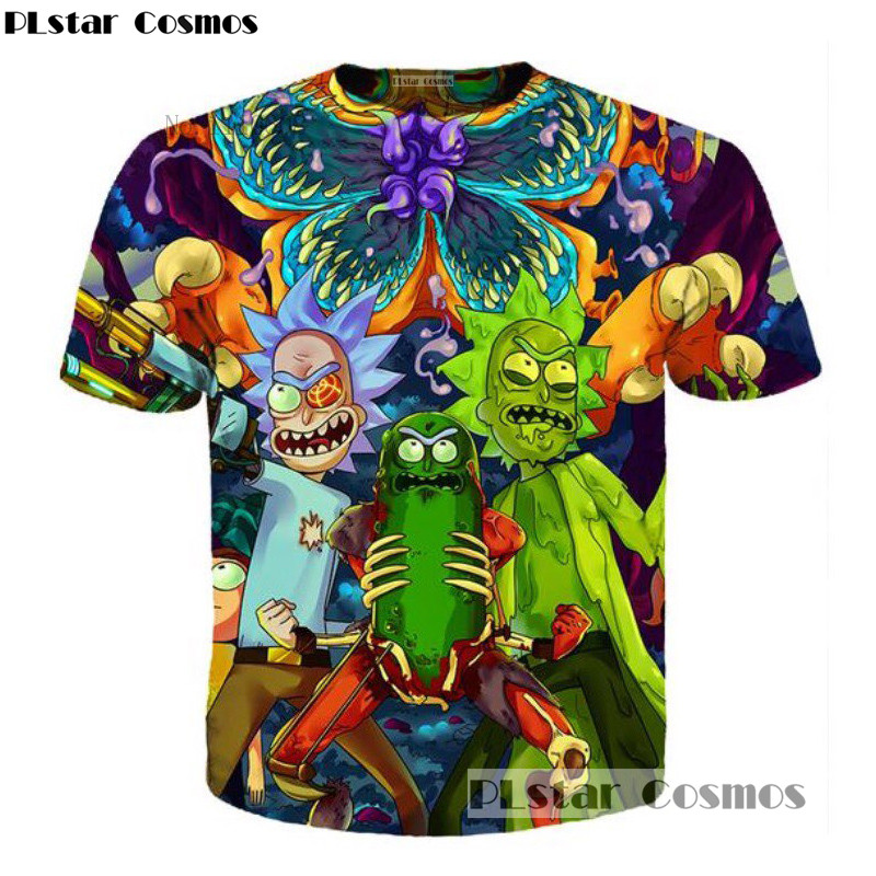 PLstar Cosmos Free shipping 2018 summer New Fashion Cartoon   t  -  shirt   Men/women tees 3d Print ricky and Morty Hip hop Tee   shirts
