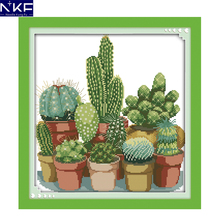 NKF Cactuses Embroidery Floss Cross Stitch Needlework Counted Cross Stitch Kits For Embroidery Chinese Cross Stitch Kits