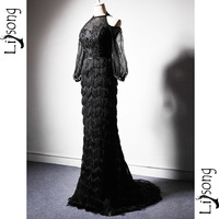 Fabulous Black Mermaid Evening Dresses Long Sleeves Tassel Lace Sexy Formal Gowns High Fashion Mermaid Maxi Gown vestido festa
