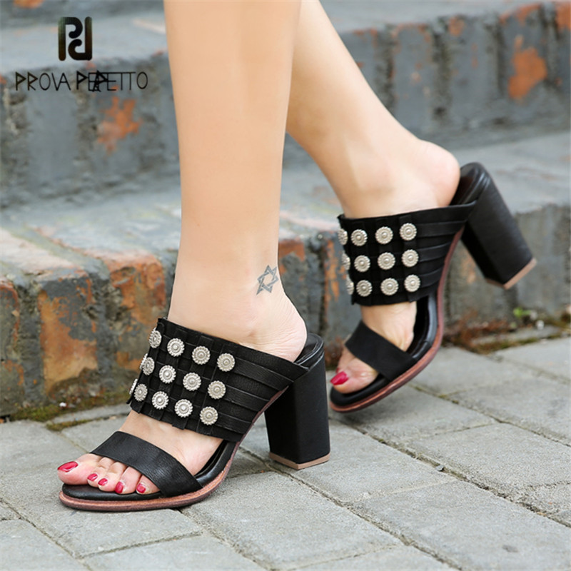 Prova Perfetto Sexy Black Women Slippers Summer Gladiator Sandals 8CM Chunky High Heels Platform Pumps Sandalias Mujer Slides