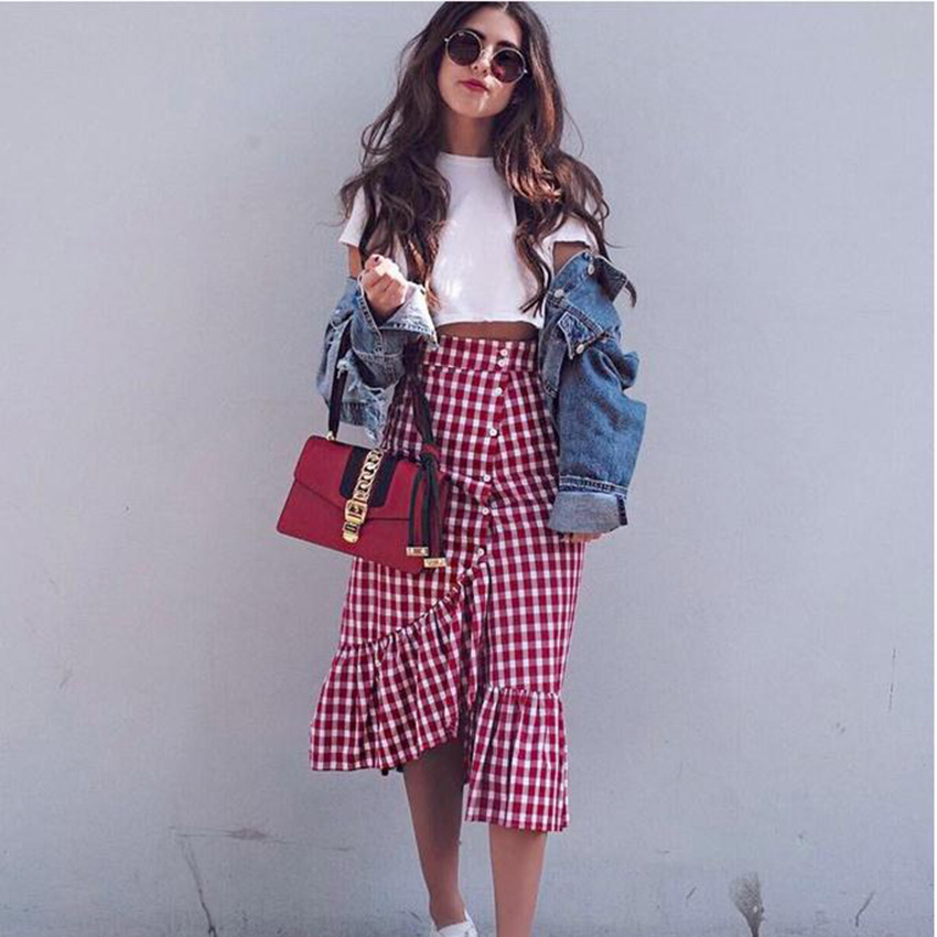 Summer Maxi Skirt Women Red White Plaid Long Skirts Ruffled Skirt Female Autumn Party Street Style