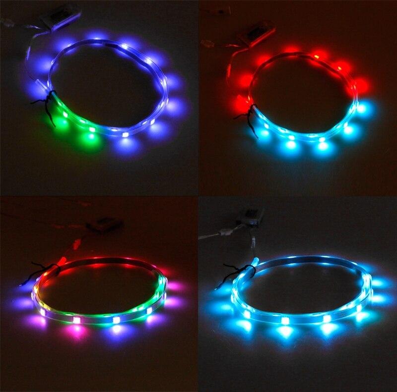 Hngchoige Led Strip Light 1 Pair 65cmx2 Rgb Smd3528 Waterproof Flexible Led Strip Lights Usb Strip Glowing Colored Lighting Shoe Led Strips