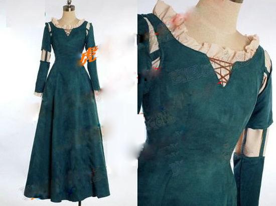 Prenses merida yetişkin kostüm cesur merida cosplay dress film/film parti cadılar bayramı kostümleri özel yapılmış