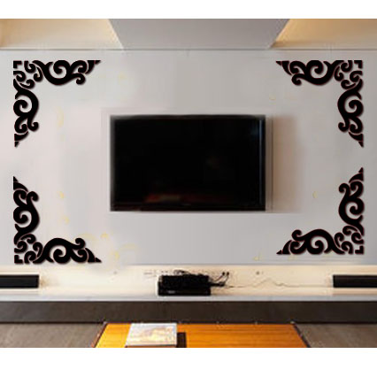 4 sets fashion 3d wall stickers tv wall sticker 3d wall decoration