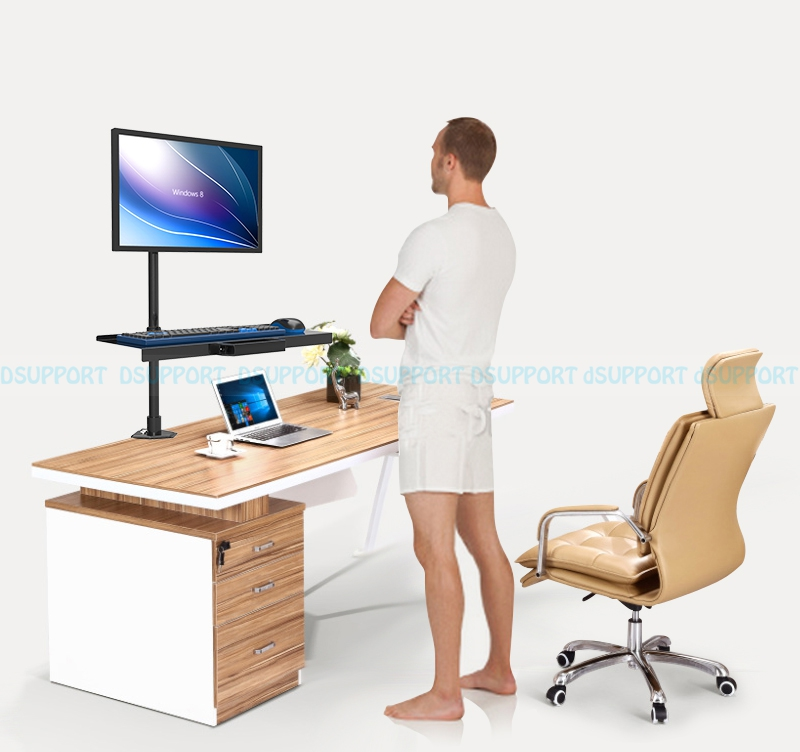 W812 Full Motion Wall Mount Ergonomic Sit-Stand Workstation PC Stand Swivel Monitor Holder +Keyboad Holder customized ceiling mount sit stand workstation full motion monitor keyboard holder assembly line work station w817