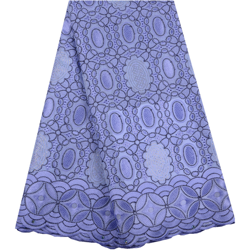 2019 African Dry Lace Fabrics High Quality French Cotton Lace Fabric Swiss Voile With Stone Swiss