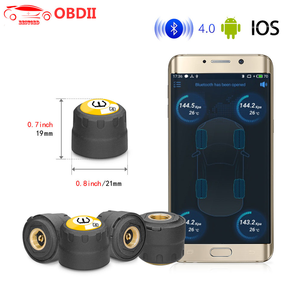 4pcs Wireless Bluetooth 4.0 TPMS Sensors Tire Pressure Monitor For Android iOS