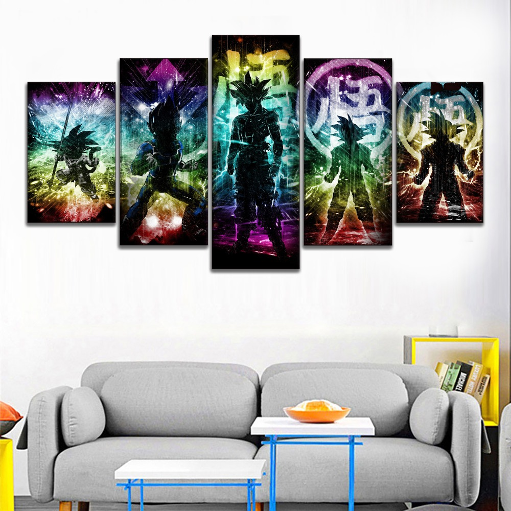 Color Light Abstract Art Super Cool Saiyan Painting 5 Panel Canvas Print Type Dragon Ball Anime Picture Modern Home Decor Wall in Painting Calligraphy from Home Garden