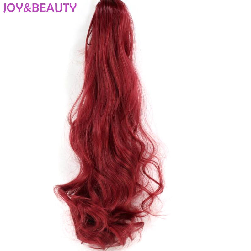 JOY BEAUTY Synthetic Hair Extension Fiber Hairpiece Drawstring Claw Ponytail Women Long Wavy Ponytail 55cm 18