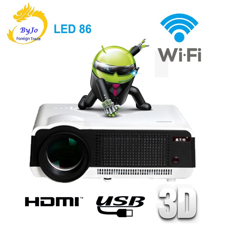 LED86 wifi led projector Android 4.4.2 HD LED 3D Smart Projector 5500 lumens 1080p HDMI Video Multi screen Home Cinema 3d projector 1024 768 native resolution 3600ansi lumens short focus projector 1m distance have 80inch screen 3d glass free gift