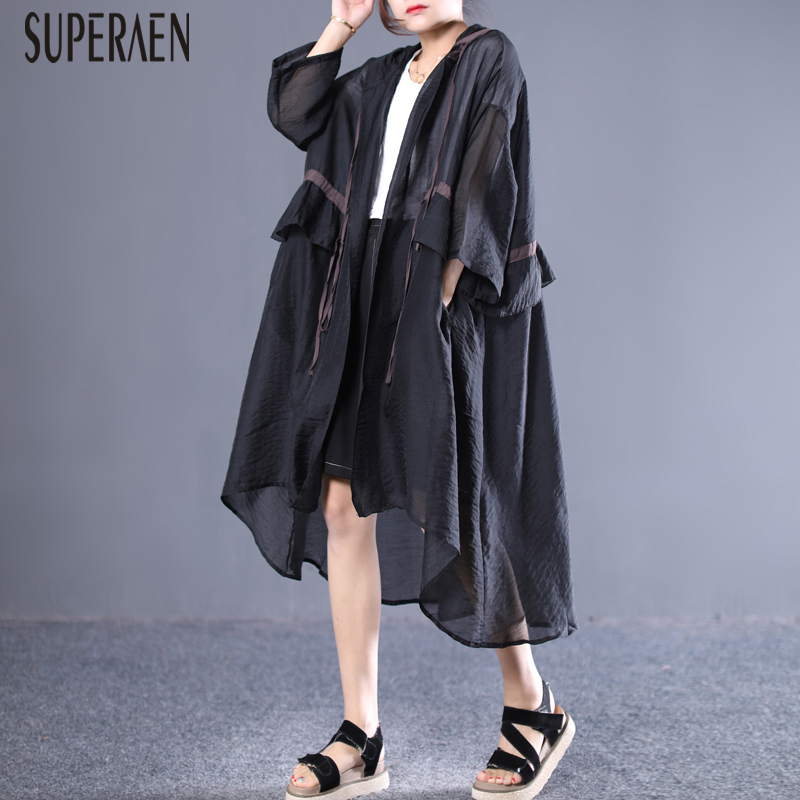 SuperAen Summer 2019 New Korean Style   Trench   Coat for Women Loose Pluz Size Hooded Sunscreen Clothing Female Wild Windbreaker