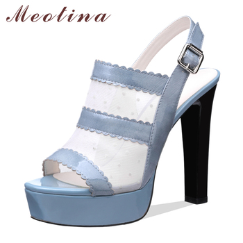 Meotina Summer Shoes Women Sandals Natural Genuine Leather Platform Thick High Heel Shoes Cutout Buckle Party Sandals Lady 33-40