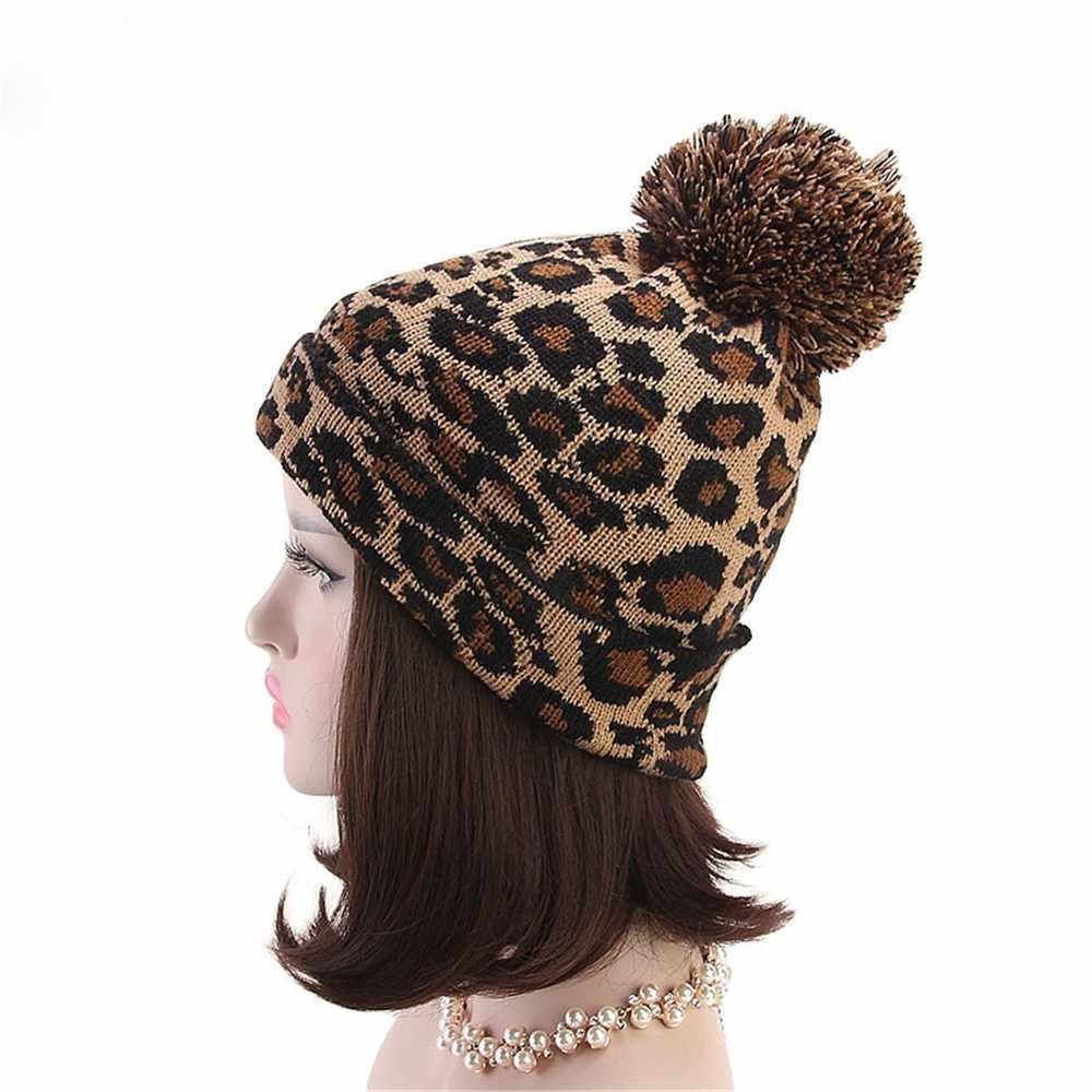 6761d570e1abb ... KANCOOLD 2018 Fashion Fashion Women Leopard Print Hats Faux Fur Ball  Autumn Winter Warm Crochet Knitted