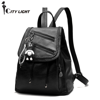 Women Backpack High Quality PU Leather Mochila Escolar School Bags For Teenagers Girls Leisure Backpacks Two Style