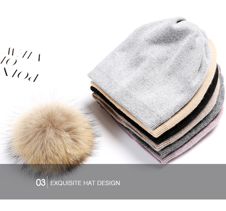 Autumn Winter Beanies Hat For Women Knitted Wool Skullies Casual Cap With Real Raccoon Fox Fur Pompom Solid Colors Ski Beanie (14)