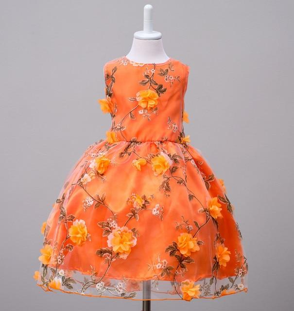 Neue prinzessin mädchen kleider kinder appliques orange kleider baby ...